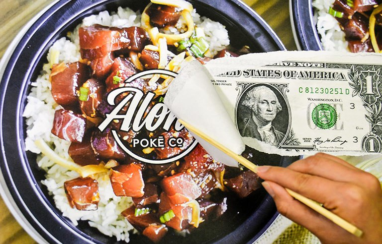 Photo Illustration of person peeling away an Aloha Poke poster to reveal a dollar bill