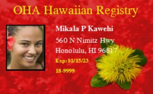OHA Hawaiian Registry Card